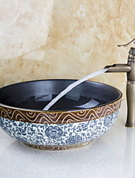 Недорогие -Смеситель для раковины в ванной комнате - водопад из античной бронзы, центральная часть, одна ручка