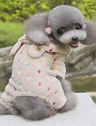 abordables -Perro Saco y Capucha Mono Ropa para Perro Bonito Lunares Rosa Marrón Disfraz Para mascotas