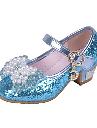 cheap -Girls' Shoes Glitter Spring & Summer Comfort Heels Crystal / Bowknot / Sequin for Pink / Blue / Wedding