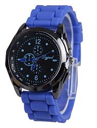 baratos -Mulheres Relógio Casual / Relógio de Moda Relógio Casual Silicone Banda Preta / Branco / Azul