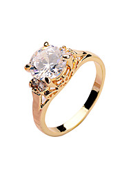 cheap -Fashion zircon ring copper material micro ring inlaid with gold color Lady Rose gold platinum gold