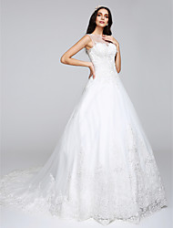 A-Line Princess Illusion Neckline Chapel Train Tulle Wedding Dress with Appliques by LAN TING BRIDE®