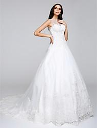 Trapèze Princesse Illusion Neckline Traîne Chapelle Tulle Robe de mariée avec Appliques par LAN TING BRIDE®