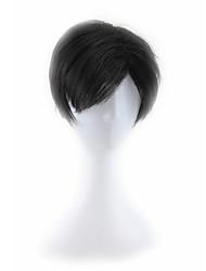 abordables -Pelucas sintéticas Recto Pelo sintético Negro Peluca Hombre / Mujer Sin Tapa