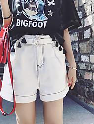 preiswerte -Damen Street Schick Mittlere Hüfthöhe Mikro-elastisch Jeans Hose, Baumwolle Sommer Solide