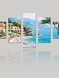JAMMORY Canvas Set Landscape ,Five Panels Gallery Wrapped, Ready To Hang Vertical Print No Frame Seascape
