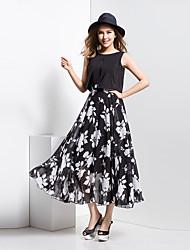 BORME® Women's Round Neck Sleeveless Bohemia Floral Print Tea-length Dress-Z114