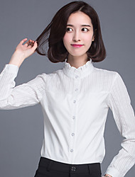 cheap -Women's Wild Solid Plus Size / Patchwork Stand Collar Long Sleeve White Cotton OL Shirt