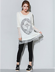 cheap -Women's False Two Plus Size Loose Casual Long Pullover,Print White / Black / Yellow Round Neck Long Sleeve Fall Thin