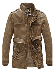 Men's Daily Jackets Fall Leather Jackets,Solid Stand Long Sleeves Regular Leatherette