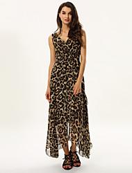 povoljno -Žene Širok kroj Korice Skater kroj Haljina - Drapirano Mrežica, Leopard