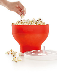 Microwave Popcorn Maker Silicone Pop Corn Bowl Bucket with Lid  Kitchen Baking Tools