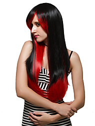 Red and black long hair and fashion wigs. Adduction.