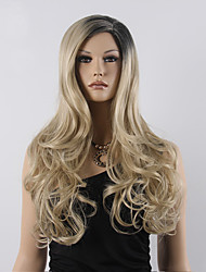 cheap -Synthetic Wig Wavy Blonde Synthetic Hair Ombre Hair / Dark Roots / Side Part Blonde Wig Women's Long Capless