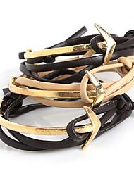 economico -Per uomo Da donna Dell'involucro del braccialetto Bracciali in pelle Pelle Placcato in oro Lega Vintage Stile punk AncoraNero Beige