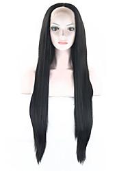 abordables -Pelucas sintéticas Recto Pelo sintético Negro Peluca Sin Tapa