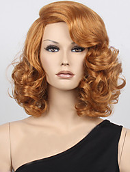 Women's Fashion Light Brown Mix Middle Curly Synthetic Wigs For Women Wig.