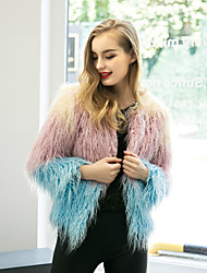 cheap -Women's Street chic Loose Fur Coat,Color Block Round Neck Long Sleeve Faux Fur  Multi-color