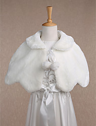 Kids' Wraps Shrugs Sleeveless Faux Fur Ivory Wedding Party/Evening Casual Scoop 34cm Wave-like Lace-up