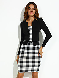 Women's Vintage Plaid Bateau Fake Two Check Patchwork Sheath Sleeve Dress