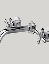 cheap -Contemporary Wall Mounted Widespread Wall Mount with  Brass Valve Two Handles Three Holes for  Chrome , Bathroom Sink Faucet