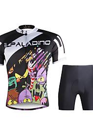 baratos -ILPALADINO Homens Manga Curta Camisa com Shorts para Ciclismo - Preto Moto Camisa / Roupas Para Esporte / Conjuntos de Roupas, Secagem
