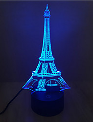 cheap -Eiffel Tower Touch Dimming 3D LED Night Light 7Colorful Decoration Atmosphere Lamp Novelty Lighting Light