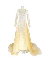 A-line v-neck varredura / escova trem laço cetim vestido de noite formal com appliques by nameilisha