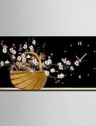 Modern/Zeitgenössisch Blumen/Botanik Wanduhr,Rechteckig Leinwand 30 x 60cm(12inchx24inch)x1pcs/ 40 x 80cm(16inchx32inch)x1pcs Drinnen Uhr