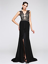 cheap -Mermaid / Trumpet V-neck Sweep / Brush Train Chiffon Lace Formal Evening Dress with Lace by TS Couture®