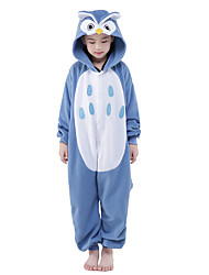 Kigurumi Pajamas Owl Onesie Pajamas Costume Velvet Mink Blue Cosplay For Kid Animal Sleepwear Cartoon Halloween Festival / Holiday
