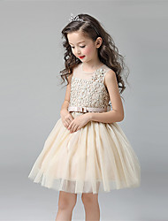 A-Line Short / Mini Flower Girl Dress - Cotton Tulle Sleeveless Jewel Neck with Bow by Lovelybees