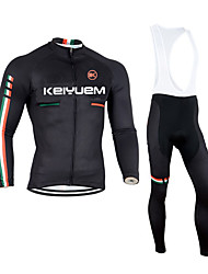 cheap -KEIYUEM Long Sleeves Cycling Jersey with Bib Tights - Black British Bike Clothing Suits, 3D Pad, Thermal / Warm, Quick Dry, Breathable