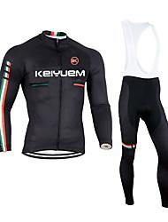 billige -KEIYUEM Langærmet Cykeltrøje og tights med seler - Sort Britisk Cykel Tøjsæt, 3D Måtte, Hold Varm, Hurtigtørrende, Åndbart Coolmax Fleece