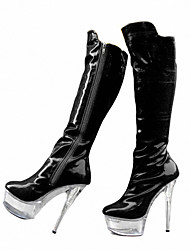 cheap -Women's Shoes Patent Leather Fall Winter Club Shoes Light Up Shoes Boots Stiletto Heel Zipper for Wedding Party & Evening Dress White