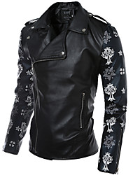 cheap -Men's Club Simple Casual Active Street chic Leather Jacket-Color Block,Patchwork