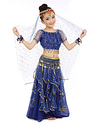 cheap -Belly Dance Outfits Children's Performance Polyester Chiffon Satin Sequin Gold Coin Short Sleeve Natural Top Skirt Belt Veil Bracelets