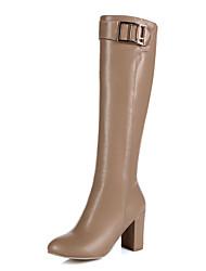 billige -Støvler-Kunstlæder-Modestøvler-Dame-Sort Brun Mandel-Udendørs Kontor Fritid-Tyk hæl