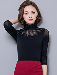 Women's Plus Size / Work Sexy Fall Slim Blouse Shirts,Lace/Mesh Embroidered Dianmonade Turtleneck Red / Black Cotton