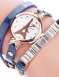 Недорогие -Женские Модные часы Часы-браслет / Имитация Алмазный Стразы Кварцевый PU Группа Эйфелева башня Cool ПовседневнаяЧерный Белый Синий
