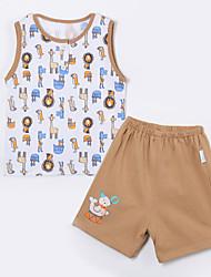cheap -Baby Boys' Daily Animal Print Clothing Set, Cotton Summer Cartoon Sleeveless Khaki