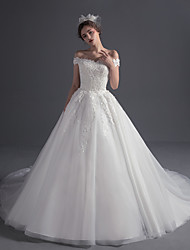 cheap -Ball Gown Off-the-shoulder Court Train Tulle Wedding Dress with Beading Appliques by LAN TING BRIDE®
