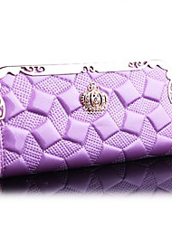 Women Bags All Seasons PU Linen Poly urethane Evening Bag Wallet for Event/Party Formal Emerald Blue Blushing Pink Champagne Lavender