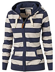 Women's Daily /Striped Blue Hooded Long Sleeve Cotton Fall / Winter Medium