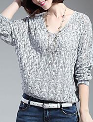 Normal Pullover Femme Décontracté / Quotidien simple,Couleur Pleine Bleu Rouge Gris Col en V Manches Longues Coton Polyester Hiver Moyen