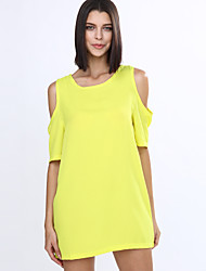 cheap -Women's Loose Dress - Solid Colored, Cut Out Mini
