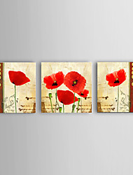 Hand-painted Flower Home Office Wall Art Oil Paintings 3pcs/set Stretched Frame Ready To Hang