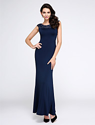 Mermaid / Trumpet Scoop Neck Ankle Length Jersey Prom Formal Evening Dress with Crystal Detailing Lace by TS Couture®