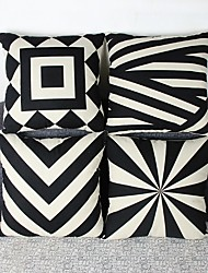 Set Of 4 Geometric Cotton/Linen Pillow Cover