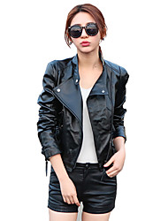 cheap -Women's Daily Street chic Fall / Winter Leather Jackets